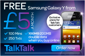Free Samsung Galaxy Y from £5 - TalkTalk - Double data when you buy online